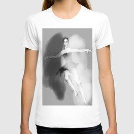 black white dancer movement  simple female T-shirt