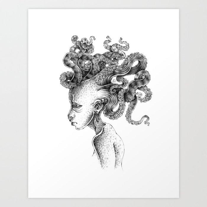 tentacle medusa Art Print