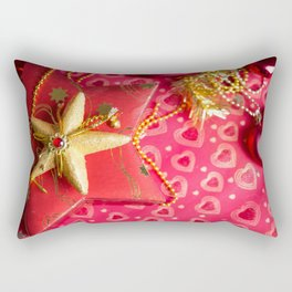 Christmas presents at red background Rectangular Pillow
