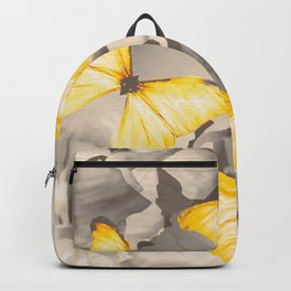 Yellow Butterflies on Dark Floral Background #decor #society6 #buyart Backpack