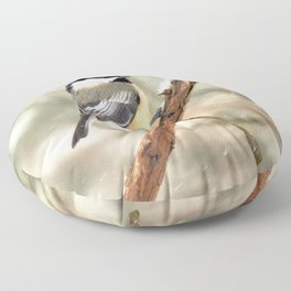 Clinging Chickadee Floor Pillow