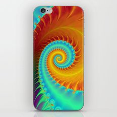 Toothed Spiral in Turquoise and Gold iPhone & iPod Skin