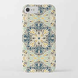 Protea Pattern in Deep Teal, Cream, Sage Green & Yellow Ochre  iPhone Case