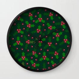 Holly Berries Wall Clock