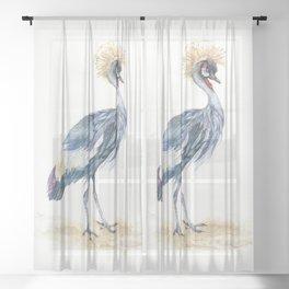 Grey Crowned Crane Bird Sheer Curtain