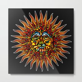 Psychedelic Sun Metal Print