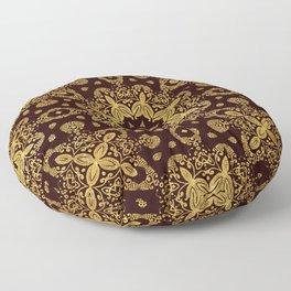 golden flowers on the brown background Floor Pillow