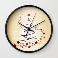christmas tree Wall Clocks featuring christmas tree by Li-Bro