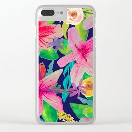 Neon Azeleas // Navy Clear iPhone Case