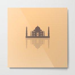 Taj Mahal - Minimalist Reflection - Orange  Metal Print