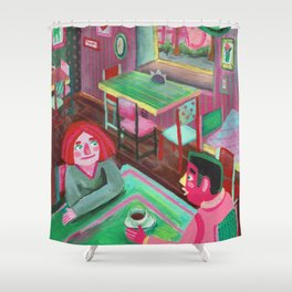 cute lovers sitting in a cafe Shower Curtain
