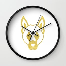 Gold head of dog Wall Clock