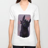toothless V-neck T-shirts featuring Toothless by tsunami-sand