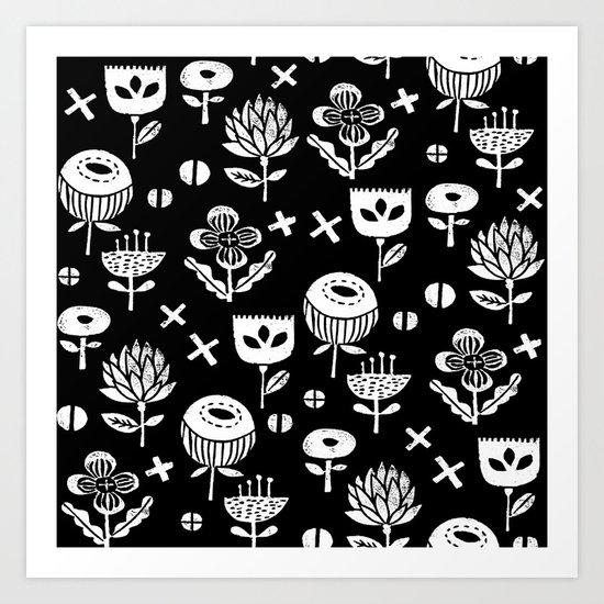 Linocut floral florals minimal scandinavian minimalist art print pattern black and white Art Print