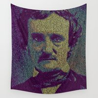 edgar allan poe Wall Tapestries featuring Edgar Allan Poe. by Robotic Ewe