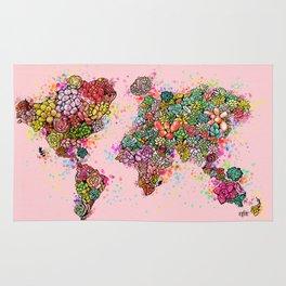 The World Succs ( Rose Gold Succulent Map ) Rug