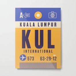 Retro Airline Luggage Tag - KUL Kuala Lumpur Malaysia Metal Print