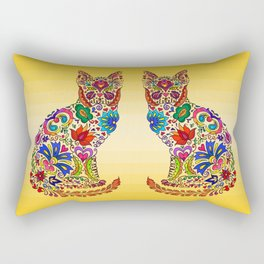Flowery Kitty Rectangular Pillow