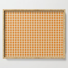 Boxed Dots Orange on Gold Serving Tray
