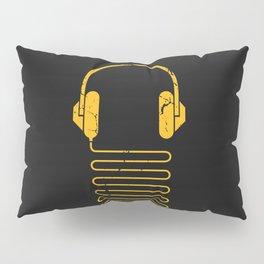 Gold Headphones Pillow Sham