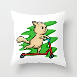 Cat Riding Scooter In Summer Throw Pillow