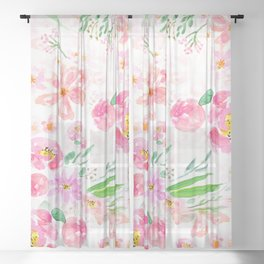 pink flowers and green leaf pattern  Sheer Curtain