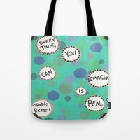 pablo picasso Tote Bags featuring Pablo Picasso Bubbles by Jenna Elise