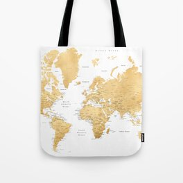 Gold world map with cities Tote Bag