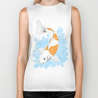 koi fish Biker Tanks featuring Koi fish  by Art & Be