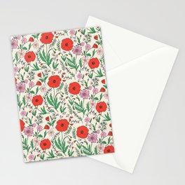 RETRO POPPY - PINK & RED Stationery Cards