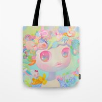 sunshine Tote Bags featuring Sunshine by So Youn Lee