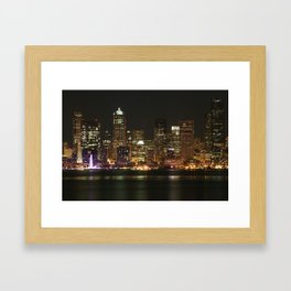 Seattle Skyline - Alki (Pink Spinning Wheel) Framed Art Print