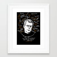 stephen king Framed Art Prints featuring Stephen King by darkscrybe