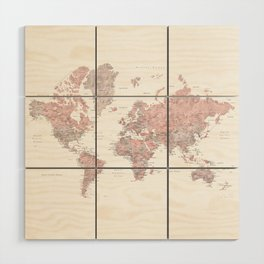 Dusty pink and grey detailed watercolor world map Wood Wall Art