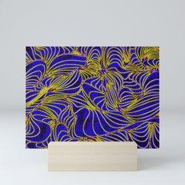 Curves in Yellow & Royal Blue Mini Art Print