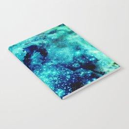 GALAXY. Teal Aqua Stars Notebook