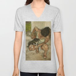 Girl Playing with Puppy Dog Impressionist Oil Painting Unisex V-Neck