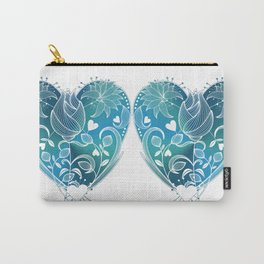 White Inked Floral Heart - Blues Carry-All Pouch