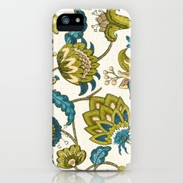 Green and Blue Indian Floral iPhone Case