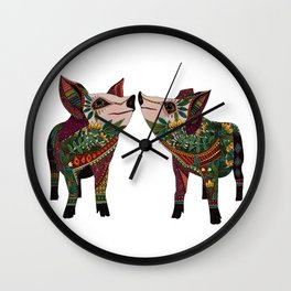 pig love white Wall Clock