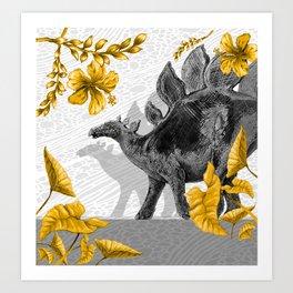 Jurassic Stegosaurus: Gold & Gray Art Print