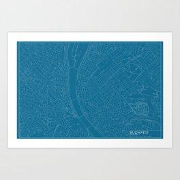 Budapest, Hungary, city map, Blueprint design, landscape format Art Print