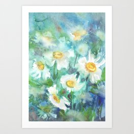 watercolor drawing - white daisies on a blue and green background, beautiful bouquet, painting Art Print