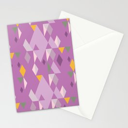 Rhombuses on lilac background, abstract seamless pattern Stationery Cards
