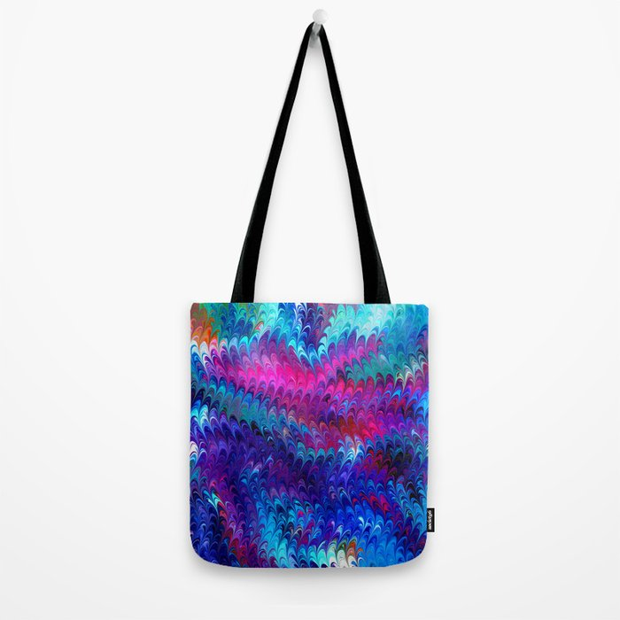 Colorful abstract waves Tote Bag