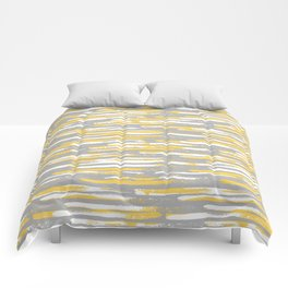 Colorful Stripes, Abstract Art, Yellow and Gray Comforters