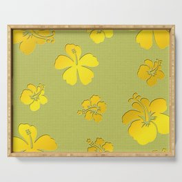 YELLOW BLOSSOMS AFTER MODERN ART Serving Tray