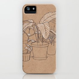 black and white house plants iPhone Case