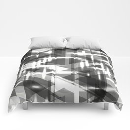 Monochrome vertical strict stripes of glittering black triangles. Comforters