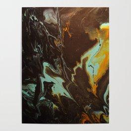 Fluid Art Acrylic Painting, Pour 3 - Black, Orange & Turquoise Blended Color Poster